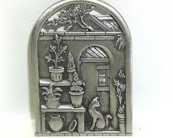 Cat Garden Doorway Archway JJ pin Jonette brooch pewter