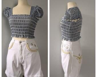 90s white denim shorts Stars and Stripes Novelty shorts Nautical