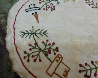Hand Stitched SnowmanTree Candle Mat, Christmas