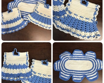 Tiny Dresses - Vintage FRENCH BLUE Potholders - Super Cute!