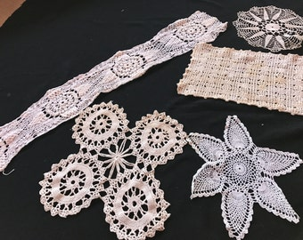 Lot of 5 Vintage Hand Crochet Ecru Doilies (Various Sizes and Styles)