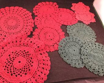 Set of 11 Vintage 1980's Era Crochet Red & Green Doilies