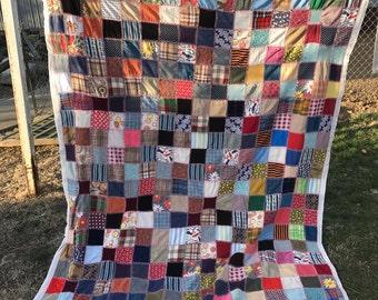 Vintage 1970's Era Briar Stitched Old Clothing Quilt