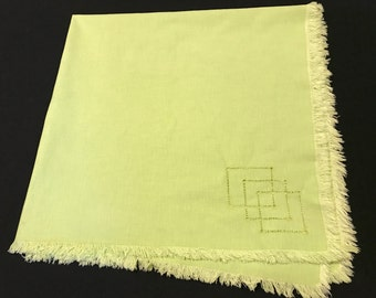 Vintage Apple Green Luncheon Cloth/Tablecloth with Drawn Work and Fringed Edges