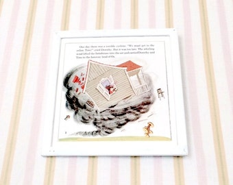 7x7 Vintage Square Dorothy and Toto in the Whipped up  in a Cyclone Illustration Nursery Book Plate Wizard of Oz Print, Vintage Disney Print