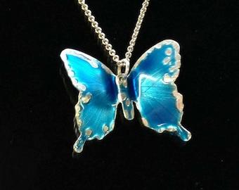 Ann's Blue Butterfly Enamel on Fine Silver Pendant Necklace