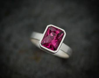 Pink Garnet Ring, Radiant Cut Solitaire Gemstone Ring in Argentium Silver,  Rhodolite Garnet  Bezel Set Wide Band Ring