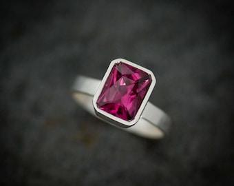 Pink Garnet Ring, Radiant Cut Solitaire Gemstone Ring in Argentium Silver,  Rhodolite Garnet  Bezel Set Wide Band Ring