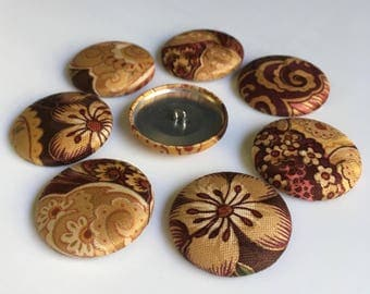 8 Fabric Buttons - Floral - Paisley - 1.5 inches - Shades of Brown, Tan, Rust, Gold