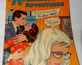 On Sale 1959 True Love Confessions, Romantic Adventures Romance Comic Book, The Ugly Twin, Scandal, Deception, Leather Covered Love! Beauty