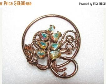 Vintage Rhinestone Pin, Brooch, Multi-Colored Rhinestones 33e