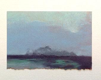 MINI 1663, Miniature art, oil painting, original, landscape, 100% charity donation, oil painting on Huile