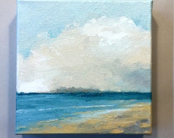 "BEACH DAY, landscape painting, oil painting, original painting, 100% charity donation, oil paint on 6""x6""x1.5"" stretched canvas"