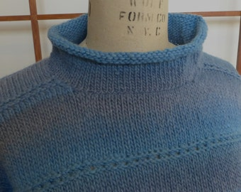 Hand Knit Blue Ombre Wool Pullover Sweater