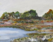 Lake Hodges, San Diego, Original Oil Painting 5x7 done on location (plein air) signed