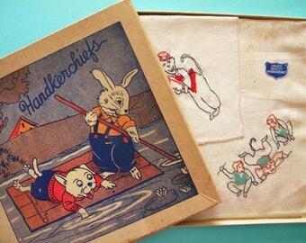 Vintage Unused Set of Handkerchiefs with Embroidered Monkeys Bunny Rabbit and Dog Box Children's Hankies
