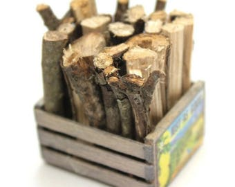 Firewood & Crate - miniature railroad figurines diorama railroad accessory miniature firewood - 118-1005