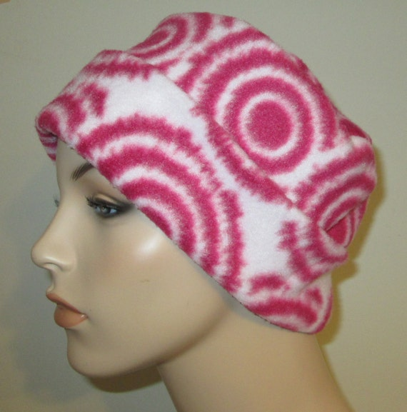 Pink Circles Print  Anti Pill Fleece Pillbox Hat, Winter Hat, Cancer, Chemo Hat,
