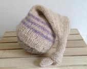 Ready to ship ... hand knit newborn baby stocking sleep cap
