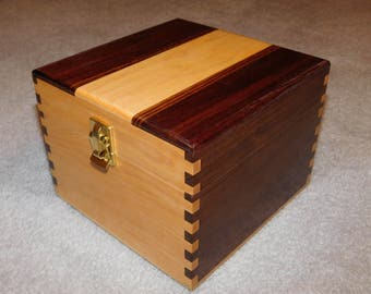 "Large Wood Recipe Box for 4"" x 6"" Index Cards - Walnut and Maple"