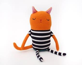 "Cat Sleepy Kitty in Pajamas ""Rufus"" Cotton Monster Plush"