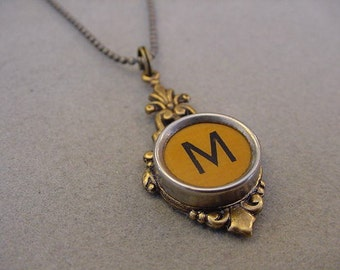 Typewriter Key Necklace Butterscotch Initial M  Bronze Antiqued brass setting Typewriter key Jewlelry Initial Necklace M