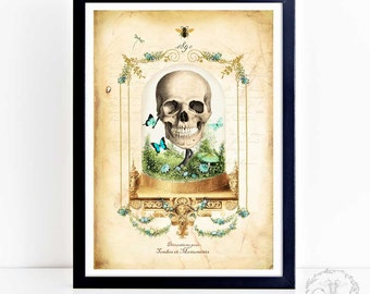 Halloween print, gothic skull in a glass cloche dome with butterflies, wall art, A4 giclee