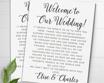 Wedding Welcome Letters, Wedding Itineraries, Wedding Welcome Bag, Welcome Card, Wedding Favor, Wedding Thank You Card, Destination Wedding