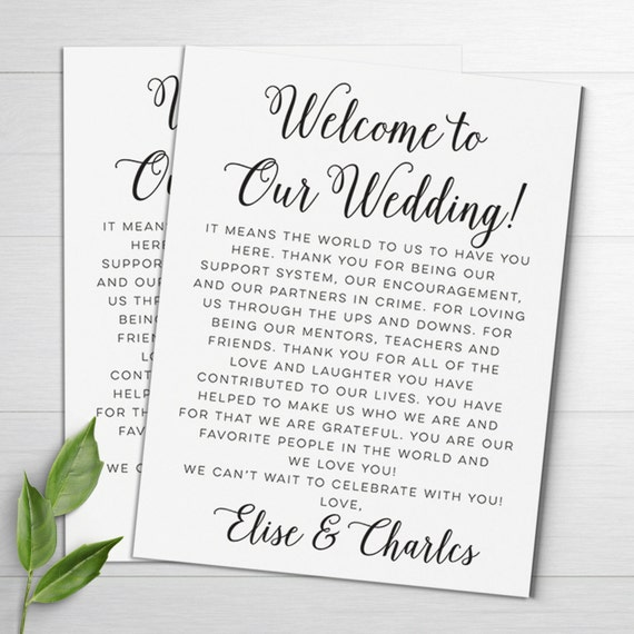 Writing Thank You Notes For Wedding Gifts: Wedding Welcome Letters Wedding Itineraries Wedding Welcome