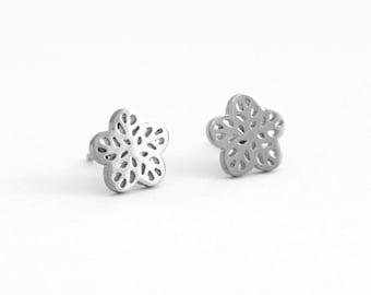 Flower Stainless Steel Earring Post Finding  (EX082)