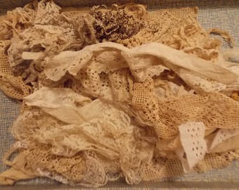 40 Antique Vintage Lace Remnants Old Clothing Trims Collars Fabric CoLLaGe SeW Art Mixed Media Embellishments Crafts Look at ALL Photos