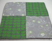 Whales You Are My Sunshine Green and Gray Four Square Baby Minky Burp Cloth 12 x 12 READY TO SHIP On Sale