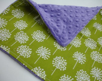 Lime Dandelions Burp Cloth 13 x 13 READY TO SHIP On Sale