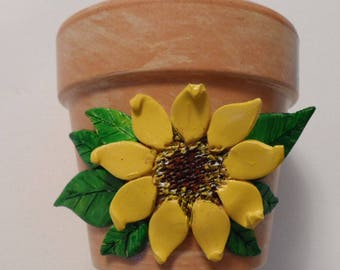 Sunflower Flower Pot Clay Sunflower And Leaves Flower Pot Clay Flower Pot