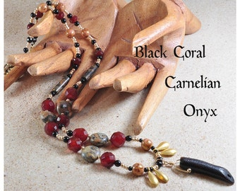 Bead necklace | Black coral necklace | Gemstone necklace | Carnelian necklace