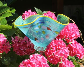 Turquoise Blue Hand Blown Glass Flower Garden Art Sculpture Outdoor Decoration Garden Finial