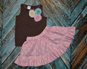 Girls 2 piece set TANK top & twirly skirt brown / pink / aqua shabby flowers sizes 12 mth - 18mth * REaDY to SHIP