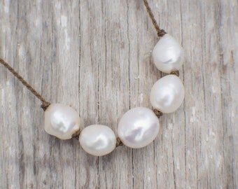 white baroque freshwater pearls / knotted necklace / handspun / ROPE COLLECTION / minimalist beauty / tula blue