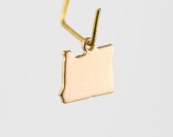 Raw Brass Tiny Oregon Blank State Charm Drops 10mm (6) chr228R