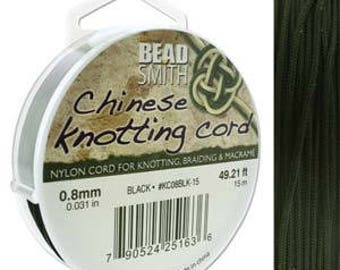 Black Chinese Knotting Cord (.8mm/.031in) 15m/16.4yds