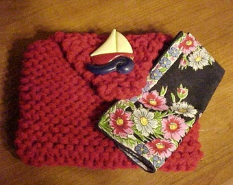 On Sale~~HANDKNIT Clutch Bag Fitted w/VINTAGE HANKY~Perfect Stocking Stuffer~Sweet Little Red Bag for Ease in Carrying~For Dining Out, Etc.