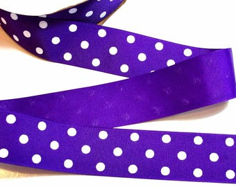 Purple Ribbon, Purple and White Swiss Polka Dot Grosgrain Ribbon 1 1/2 inches wide x 10 yards, SECOND QUALITY FLAWED