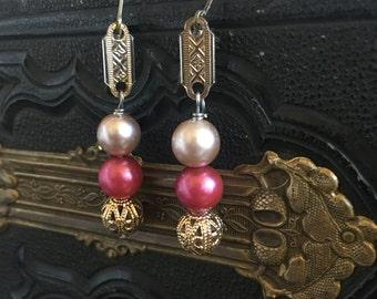 True Love Vintage repurposed earring pink pearl gold filigree Victorian