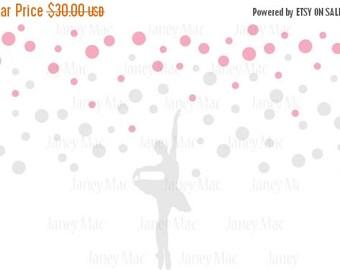 ON SALE Ballerina Wall Decal Polka Dots with Dancer Vinyl Sticker - Girls Nursery Bedroom Decor - Dancer Vinyl Wall Art Sticker - CG119