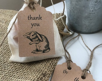 Thank you tags x 10 - rabbit, woodland party - loot bag tags, favour bag tag, favor