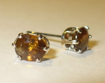 Genuine Sphene ( Titanite ) Stud Earrings in Sterling