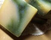White Tea Mint Handmade Cold Processed Soap 4.5 oz ounces Bath Body Peppermint Exfoliant Leaves Fragrance Spa Skin Moisturizing
