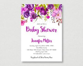 Purple Floral Baby Shower Invitation / Floral Baby Shower Invite / Watercolor Floral Invite / Floral Shower / Spring Floral / PRINTABLE A167