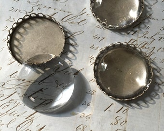 2 Sets of German Glass Cabochon and Antiqued Silver Setting
