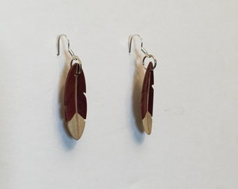 Hand carved Redheart, Holly and Ash Feather Earrings J170102
